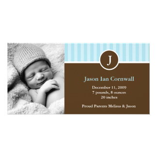 Monogram and Blue Stripes Boy Birth Announcements Card
