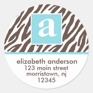 Monogram and Brown Zebra Print Address Labels Round Sticker