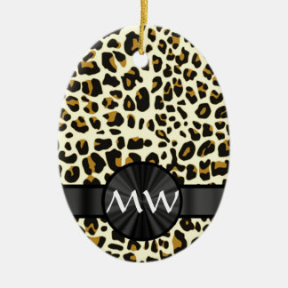 Monogram and  leopard print ceramic ornament