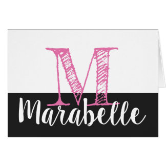 Monogram and Name Note Card