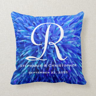 Monogram and Names Blue Abstract Floral Pillow
