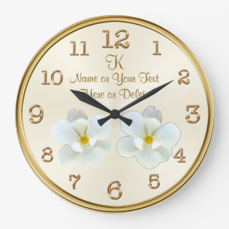 Monogram and Personalized Magnolia Clock