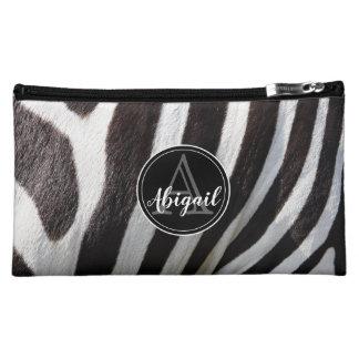 Monogram and photo of black & white zebra stripes, cosmetic bag