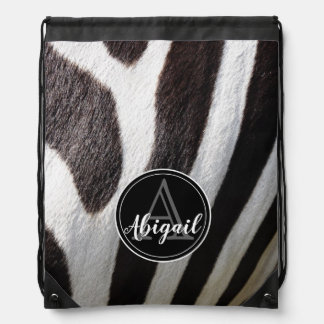 Monogram and photo of black & white zebra stripes, drawstring bag