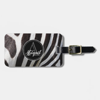 Monogram and photo of black & white zebra stripes, luggage tag