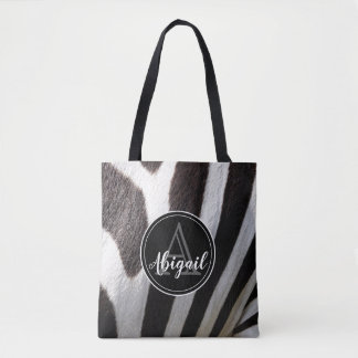 Monogram and photo of black & white zebra stripes, tote bag