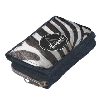 Monogram and photo of black & white zebra stripes, wallet