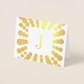 Monogram and Polka Dots Template Initial Foil Card