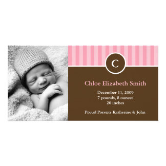 Monogram and Stripes Birth Announcements Photo Card