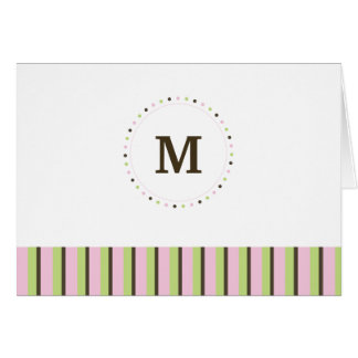 Monogram and Stripes Blank Card-pink Note Card