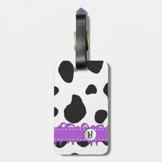 Monogram - Animal Print, Cow Spots - Black White Luggage Tag
