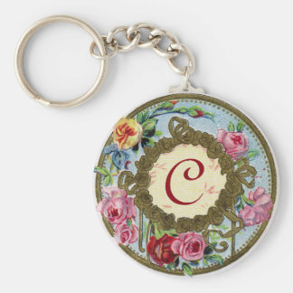 Monogram Antique French Rose Button Keychain