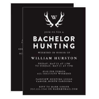 Monogram Antlers Hunting Bachelor Party Invitation