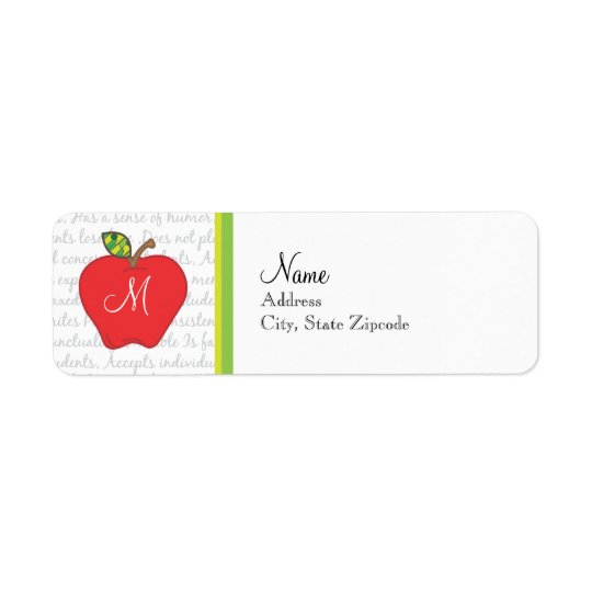 Monogram Apple Return Address Label
