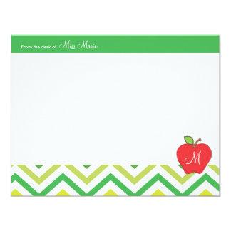 Monogram Apple Teachers Flat Note Card