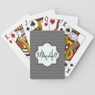 Monogram Aqua and Black Chevron Card Decks