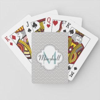 Monogram Aqua and Gray Chevron Playing Cards
