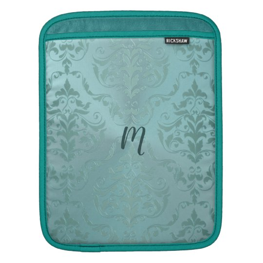 Monogram Aqua Antique Vintage Damask iPad Sleeve