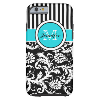 Monogram Aqua Black White Striped Damask iPhone 6  Tough iPhone 6 Case