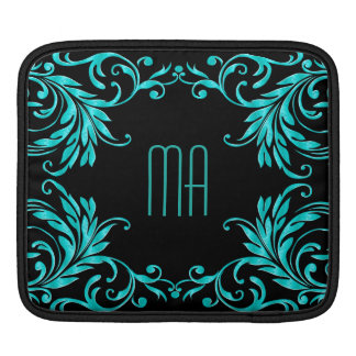Monogram Aqua Blue Damask iPad Sleeve