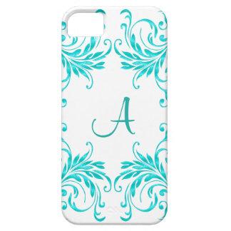 Monogram Aqua Blue Damask iPhone 5 Covers