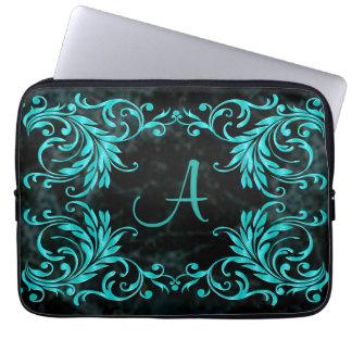 Monogram Aqua Blue Damask Laptop Sleeve