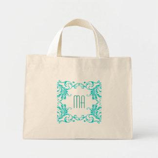 Monogram Aqua Blue Damask Mini Tote Bag