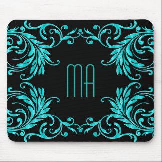 Monogram Aqua Blue Damask Mouse Pad