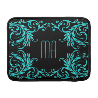 Monogram Aqua Blue Damask Sleeves For MacBook Air