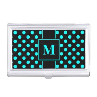 Monogram Aqua Blue Polka Dot on Black Business Card Holder