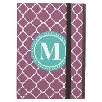 Monogram Aqua Blue Purple Quatrefoil Pattern iPad Air Cover