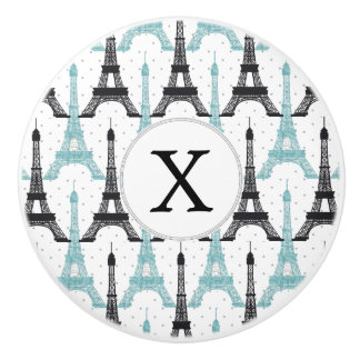 Monogram Aqua Chic Eiffel Tower Pattern Ceramic Knob