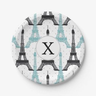 Monogram Aqua Chic Eiffel Tower Pattern Paper Plate
