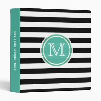 Monogram: Aqua Green, Black & White Stripe Binder