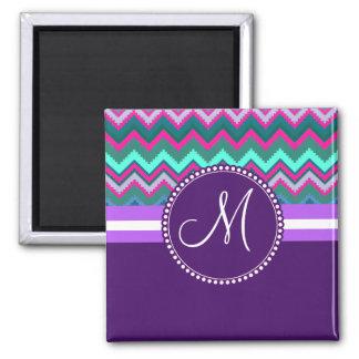Monogram Aqua Teal Blue Pink Tribal Chevron Zigzag Square Magnet