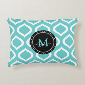 Monogram Aqua White Abstract Trellis Pattern Accent Pillow
