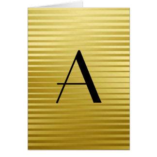 Monogram Art Deco Gold Satin Stripes Card