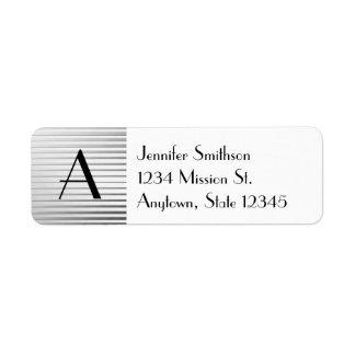 Monogram Art Deco Silver Satin Stripes Return Address Label
