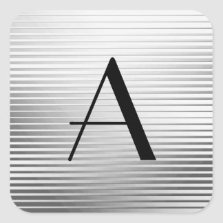 Monogram Art Deco Silver Satin Stripes Square Sticker