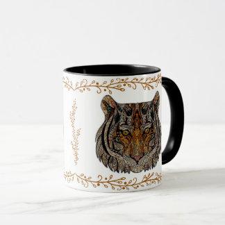 Monogram Art Glass Tiger Face Mug