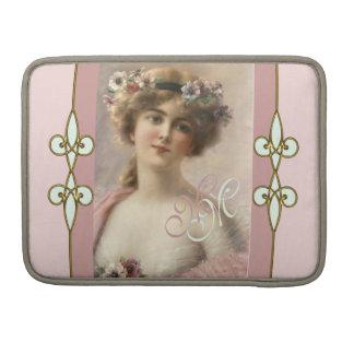 Monogram Art Nouveau Vintage Victorian Lady Sleeve For MacBooks