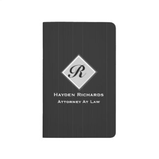 Monogram Attorney Lawyer Black Pinstripes Journals