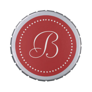 Monogram Aurora Red/White Dot Border
