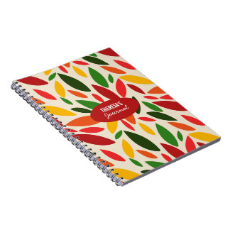 Monogram Autumn leaves orange red yellow Notebook
