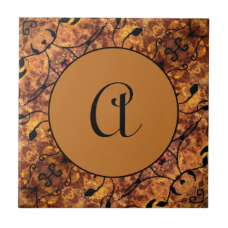 Monogram Autumn Leaves Silhouette Pattern Tile