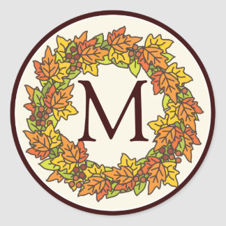 Monogram Autumn Wreath of Leaves Seal