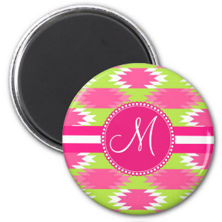 Monogram Aztec Andes Tribal Hot Pink Lime Green 2 Inch Round Magnet