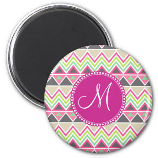 Monogram Aztec Andes Tribal Mountains Chevron 2 Inch Round Magnet