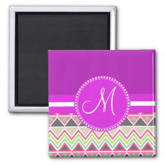 Monogram Aztec Andes Tribal Mountains Chevron Square Magnet