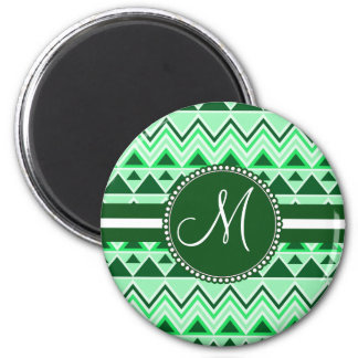 Monogram Aztec Andes Tribal Mountains Triangles 2 Inch Round Magnet